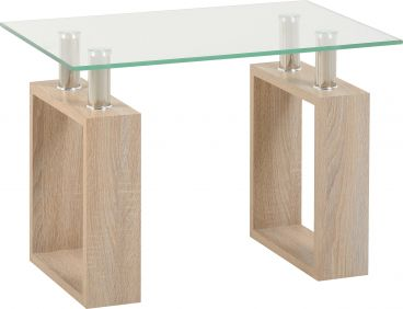 Nova Lamp Table in Sonoma Oak Veneer & Clear Glass & Silver