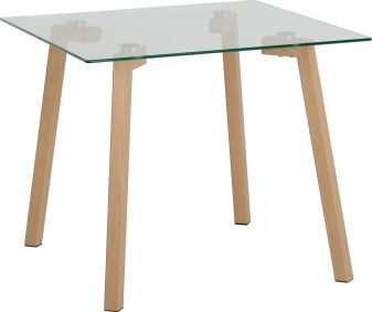 Rocco Lamp Table in Clear Glass & Oak Veneer