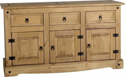 Darwin 3 Door 3 Drawer Sideboard in Pine