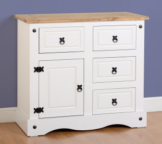 Darwin 1 Door 4 Drawer Sideboard in White & Pine