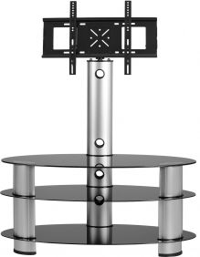 Empress TV Stand in Black Glass & Silver