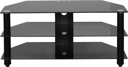 Bexley TV Stand in Black Glass & Black