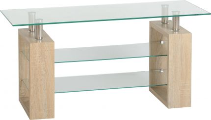 Nova TV Unit in Sonoma Oak Veneer & Clear Glass & Silver