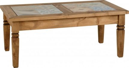 Earl Tile Top Coffee Table in Distressed Waxed Pine