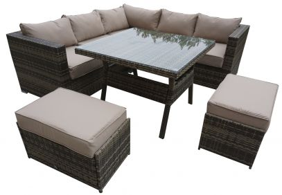 Grenville Corner Dining Sofa In Nature/Brown Weave