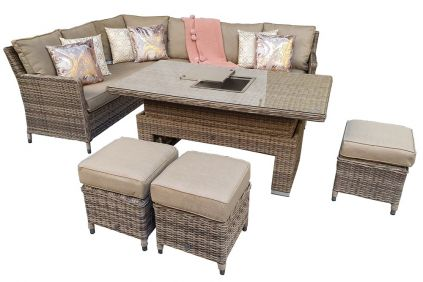 Edawa Corner Dining With Lift Table Mixed Nature Weave
