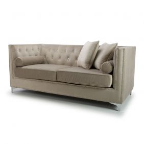 Kennedy Diamante 3 Seater Brushed Velvet Mink Sofa