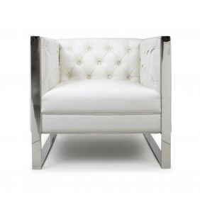 Caroline Square Leather Match Oyster White Armchair