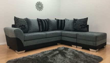 Vermont Fabric One Arm Corner Sofa - Black & Grey