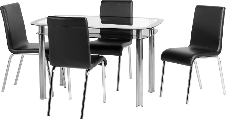 Harlequin 4 Seater Dining Set in Clear Glass & Black