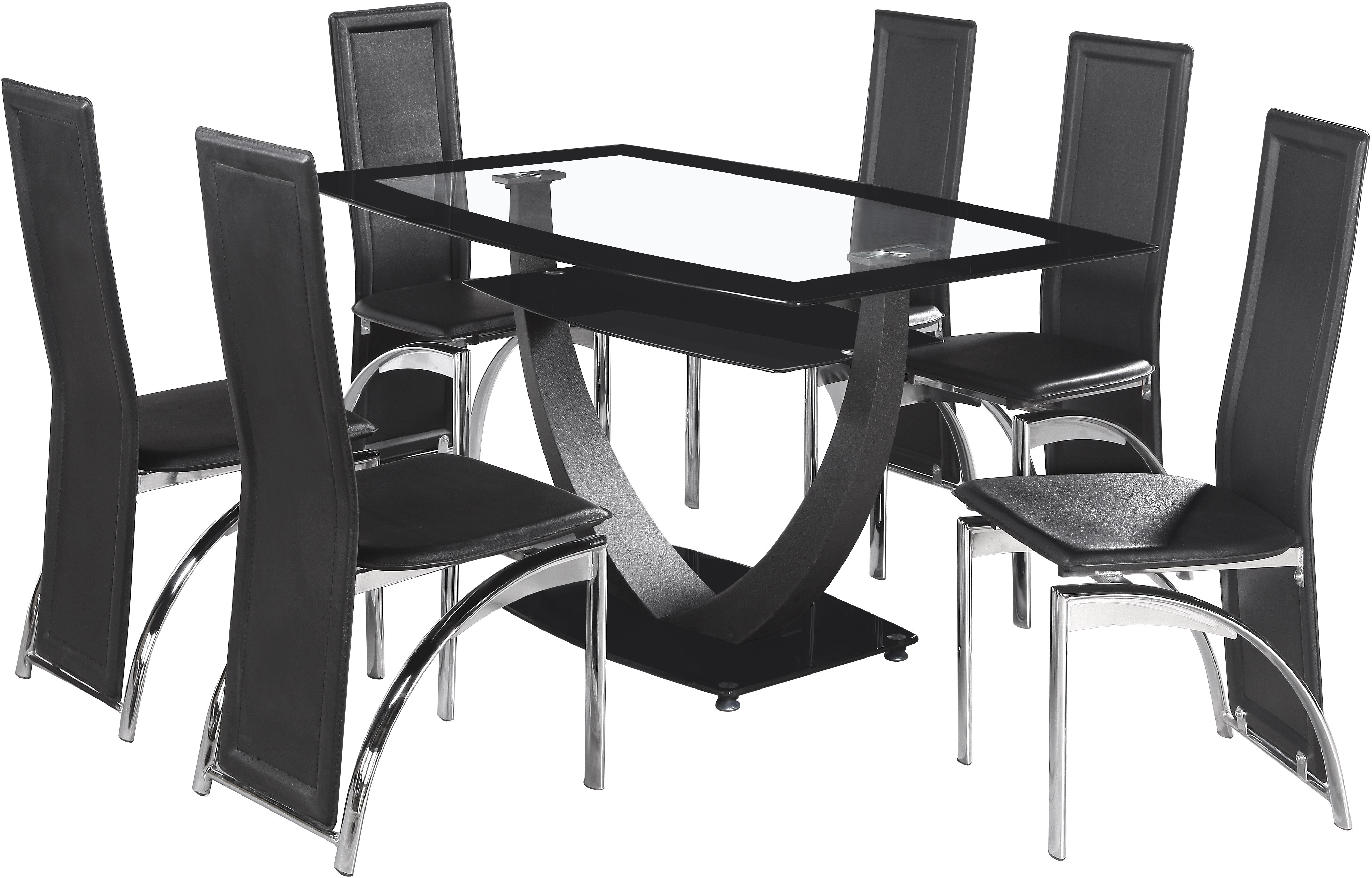 Hanley 6 Seater Dining Set in Clear Glass & Black Border