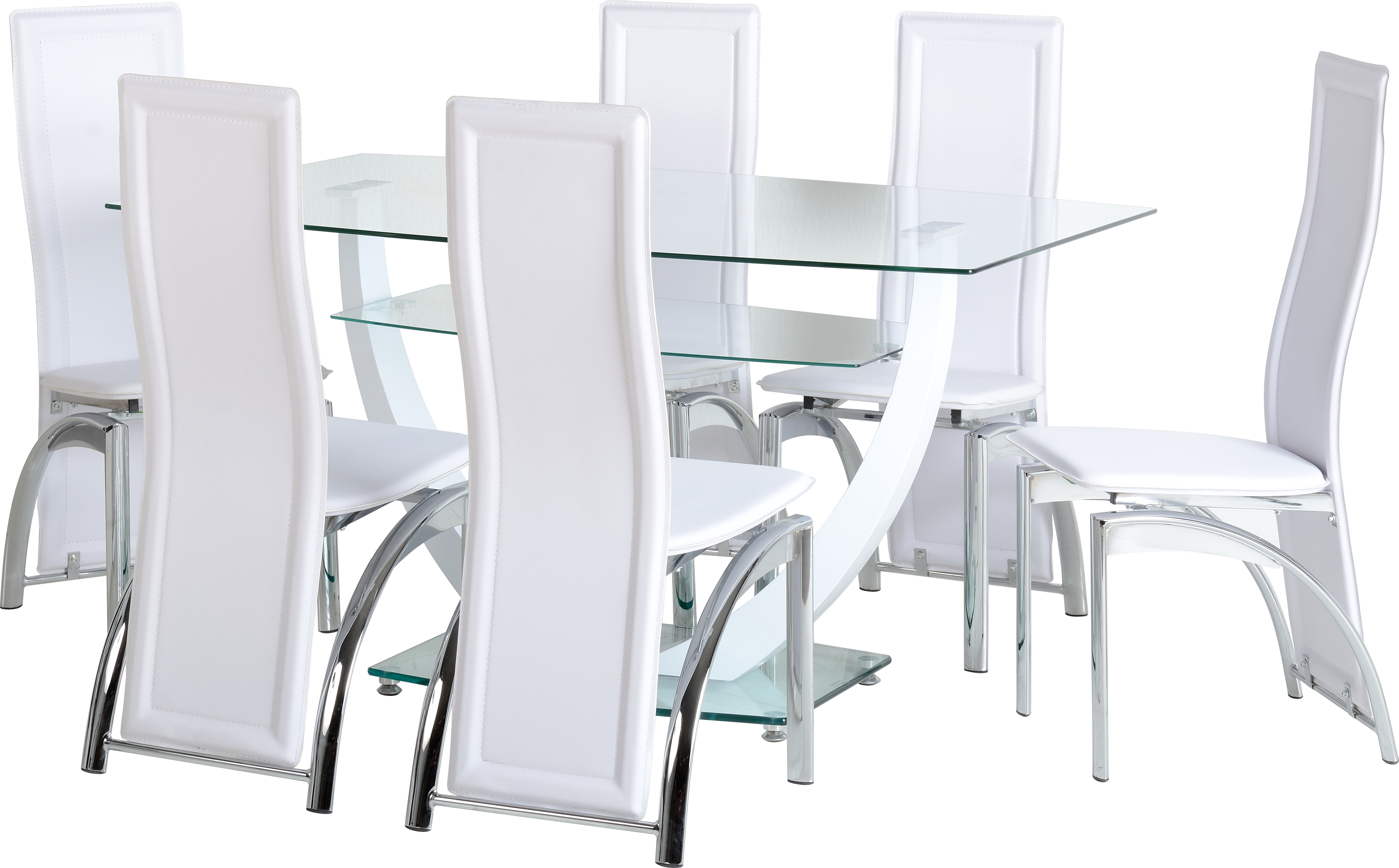 Hanley 6 Seater Dining Set in Clear Glass & White & Chrome & White