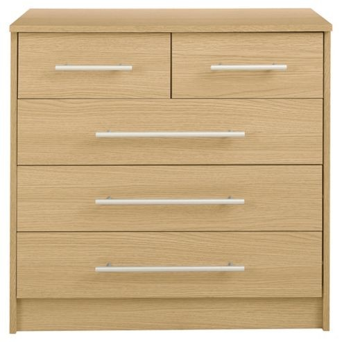 Image of Kendal Oak Effect Chest of Drawers 5 Drawer Chest 3+2
