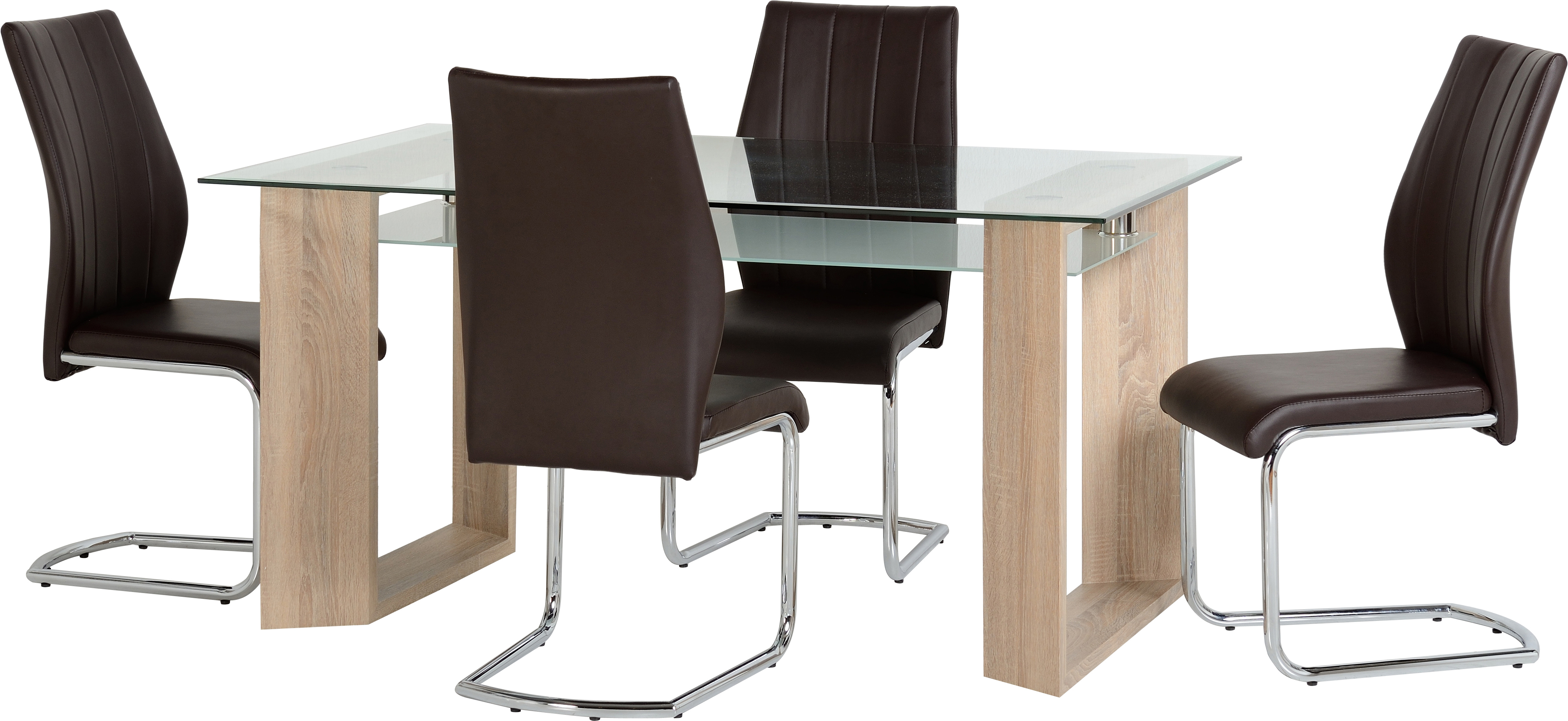 Milan 4 Seater Dining Set in Clear Glass & Frosted Glass