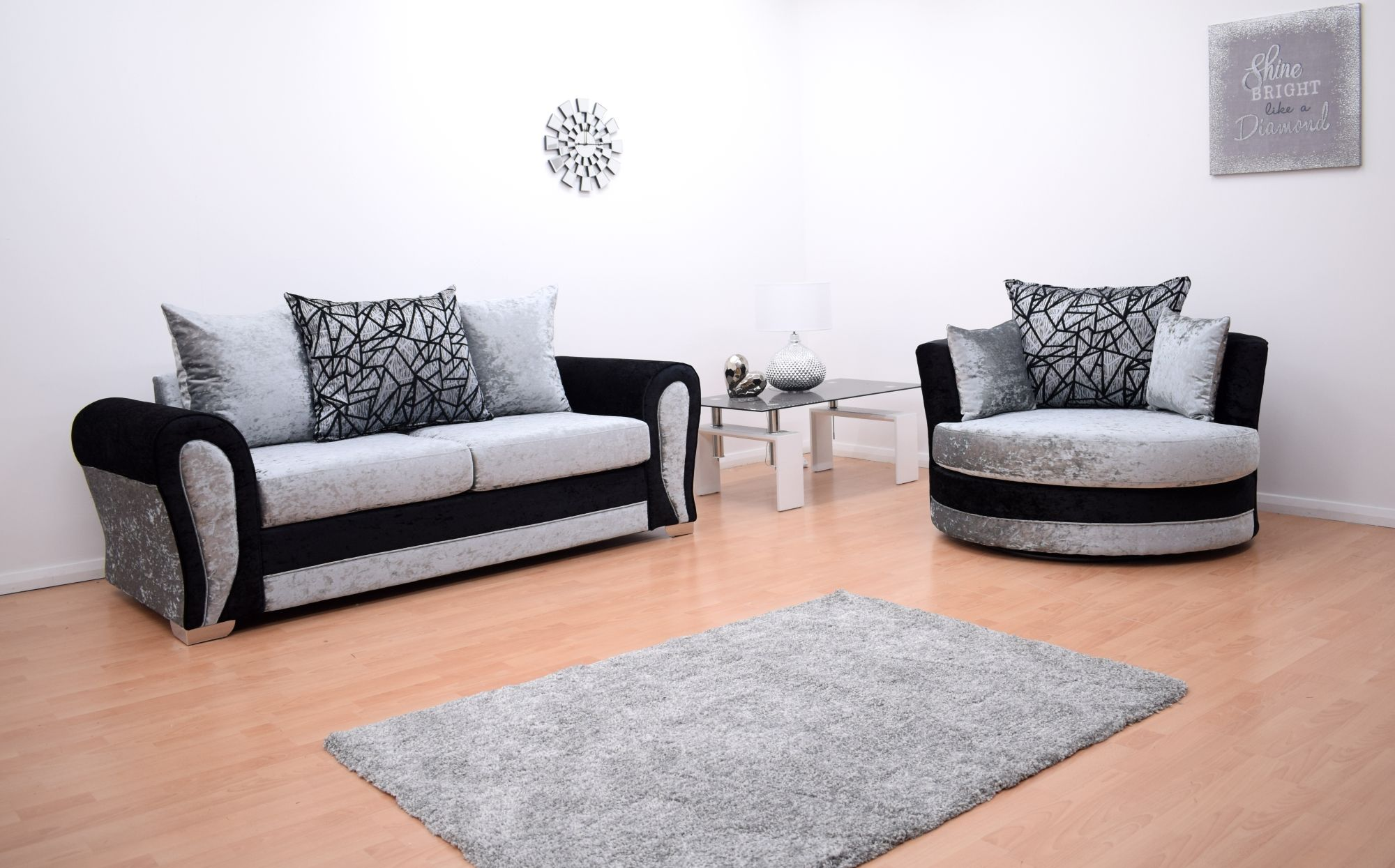 Paris Velvet 3 Seater Hand Crafted sofa & Cuddle Chair - Black & Silver