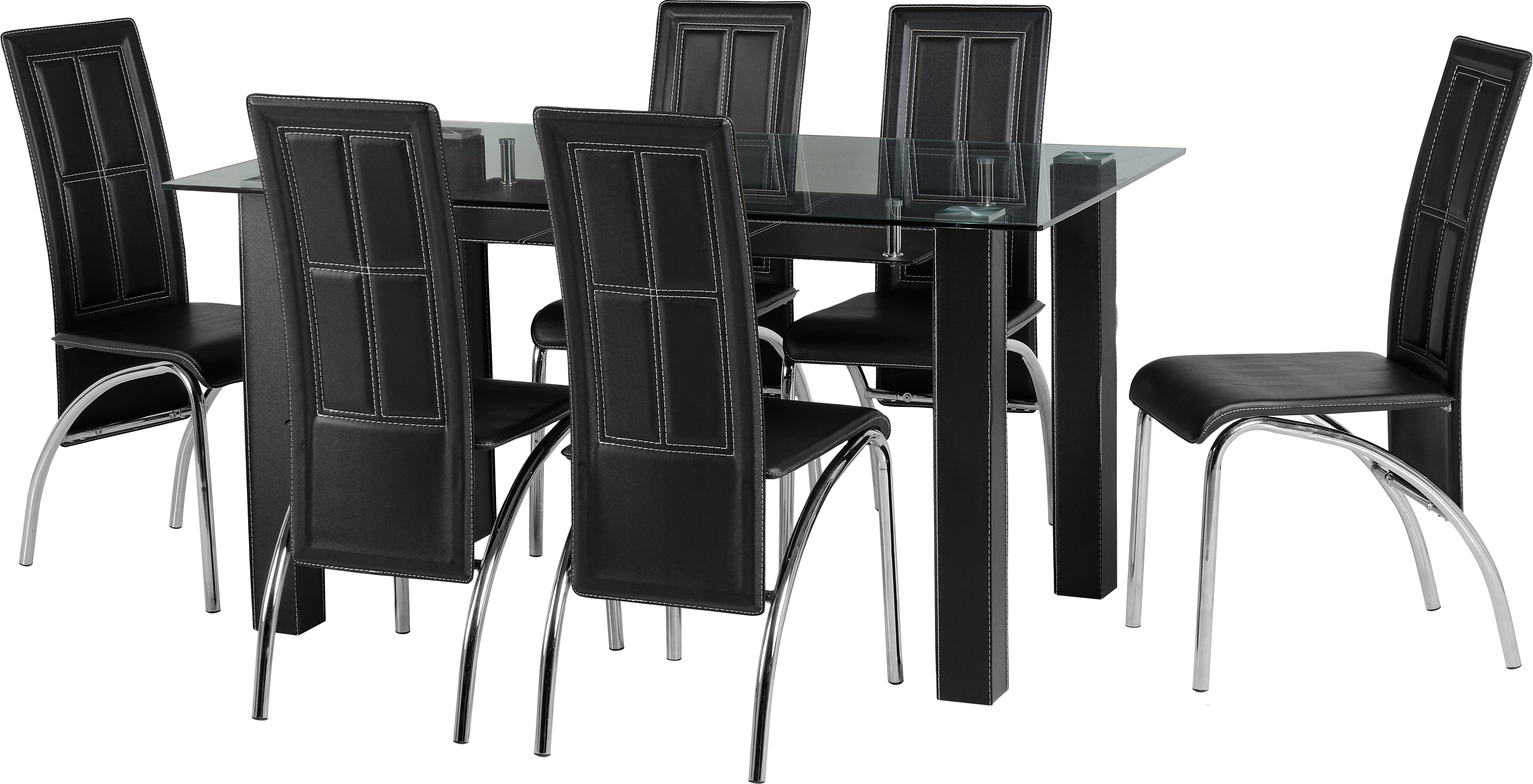 Stanton 6 Seater Dining Set in Clear Glass & Black & Chrome